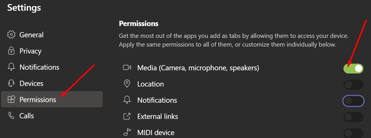 ms teams media permissions
