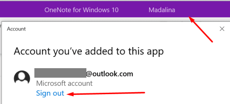 onenote sign out