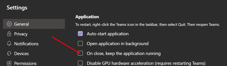 microsoft teams on close, keep the application running
