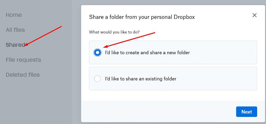 dropbox create and share new folder