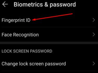 fingerprint and biometrics settings android