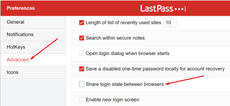 lastpass share login state between browsers
