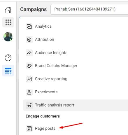 page posts option business