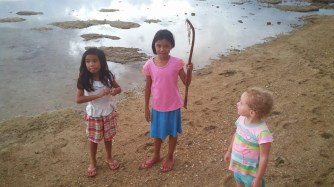 Jenny's eldest daughter, JM, exacts my revenge on the jellyfish of the region.