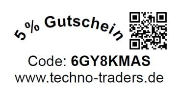 5% Gutschein Code: 6GY8KMAS www.techno-traders.de