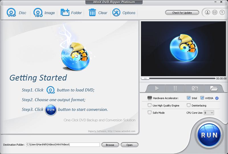 WinX DVD Ripper Platinum Main Interface