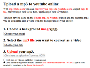 Now Upload MP3 Files on YouTube