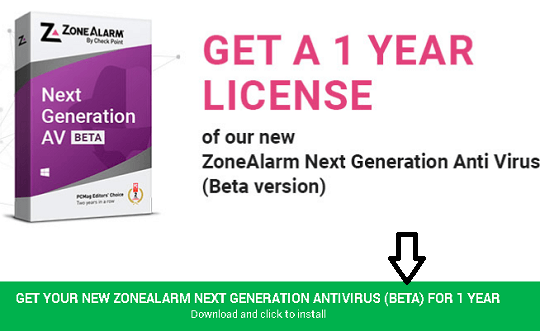 ZoneAlarm Next Gen Anti virus- free 1 year license