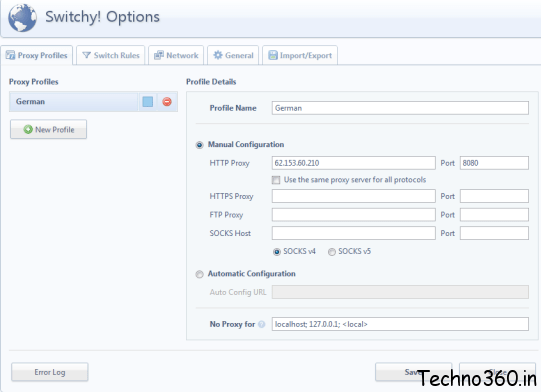 Proxy Switchy : Easily use multiple proxies in Chrome
