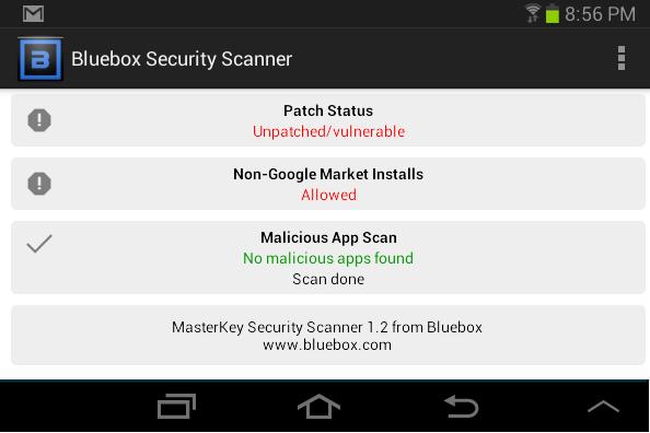 galaxy tab 2 vulnerable to master key bug