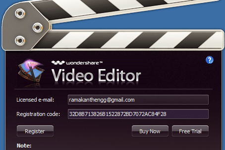 Wondershare Video Editor License for Free