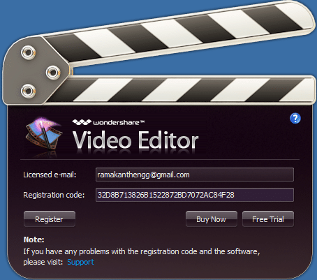 wondershare video editor licensed email and registration code free download