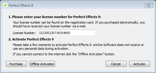 perfect effects 9 license number
