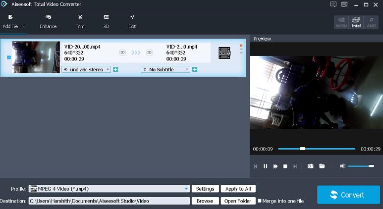 Aiseesoft Total Video Converter Interface