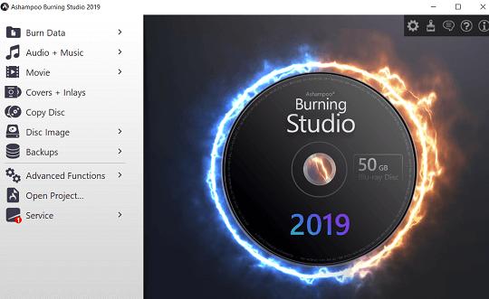 Ashampoo Burning Studio 2019 interface