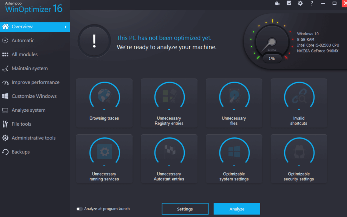 Ashampoo WinOptimizer 16 interface