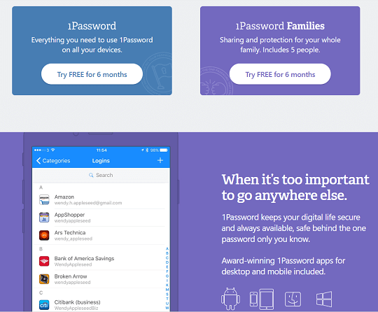 1Password Password Manager- Free 1 Year Personal & Family Edition