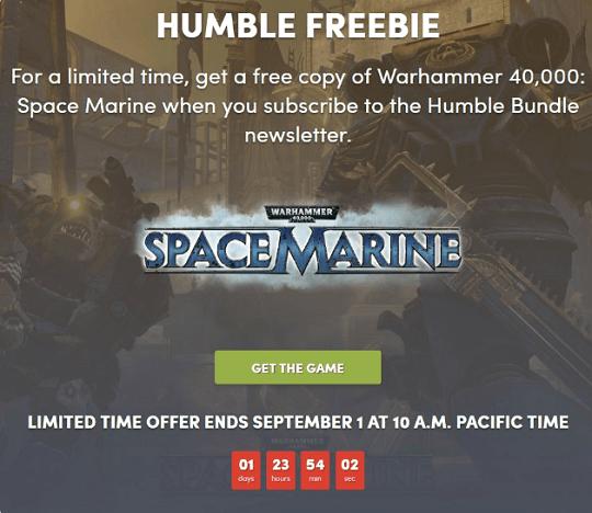 Warhammer Space Marine giveaway