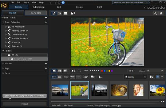 Cyberlink PhotoDirector Deluxe 9 interface