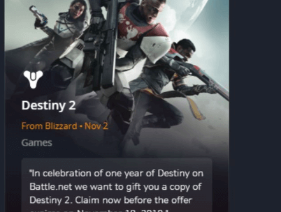 Destiny 2 PC game Available for Free until November 18