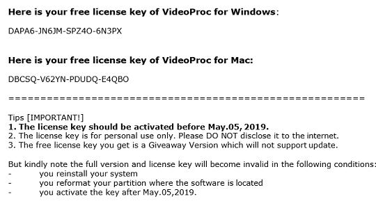 VideoProc license code