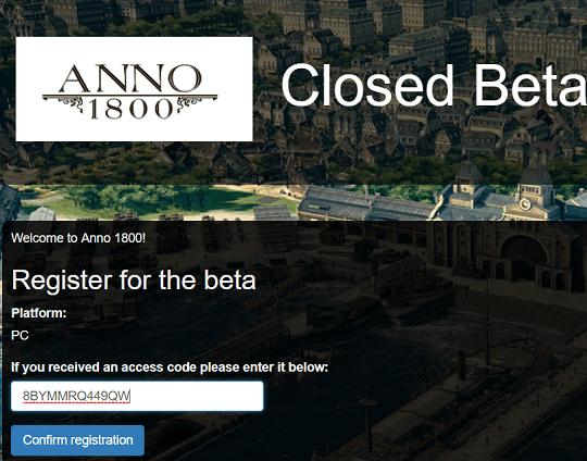 ANNO 1800 CLOSED BETA access code