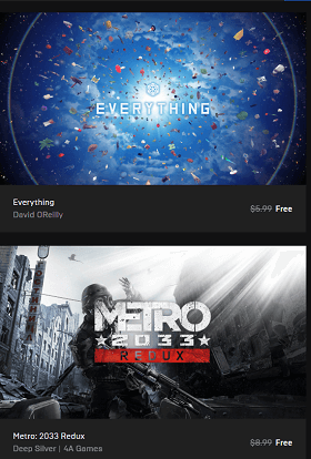 Everything and Metro: 2033 Redux  PC Games Available for Free