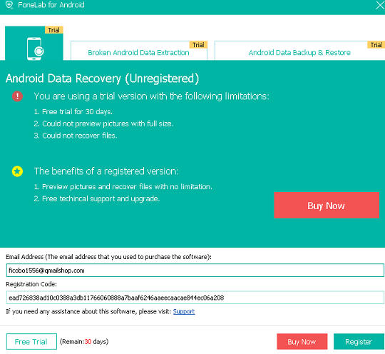 FoneLab Android Data Recovery license