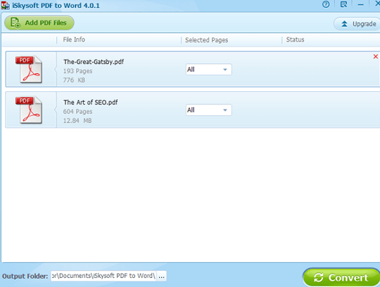 iskysoft PDF to Word Converter interface