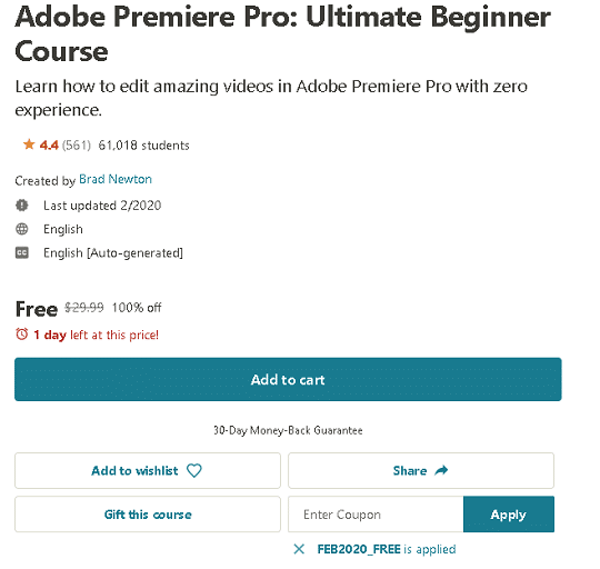 Adobe Premiere Pro Ultimate Beginner Course coupon