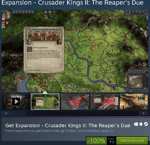 The Reaper's Due expansion of Crusaer Kings 2
