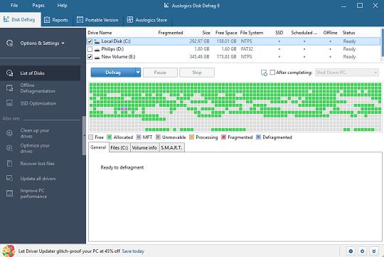auslogics disk defrag 9 pro interface