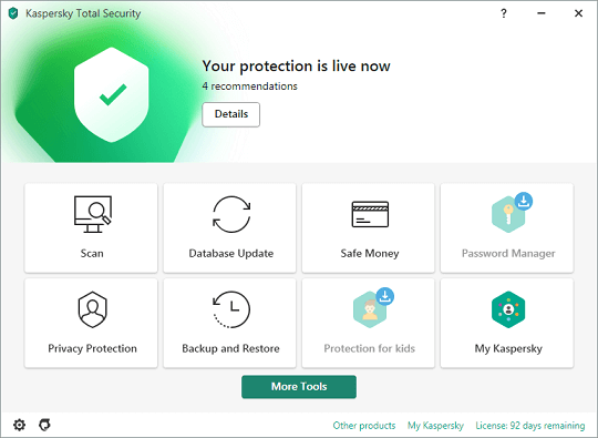 Kaspersky Total Security 2021 Interface
