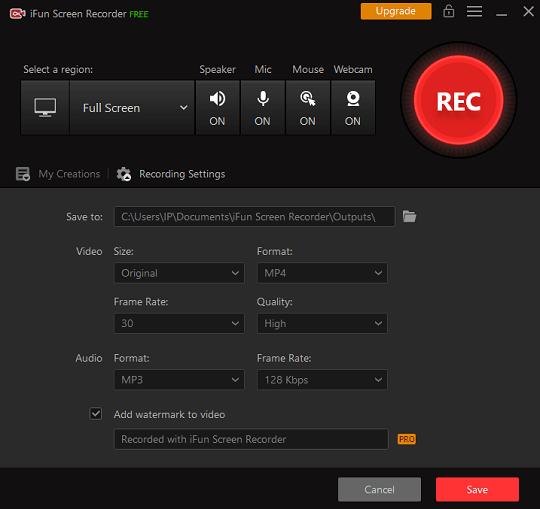 iFun Screen Recorder Settings