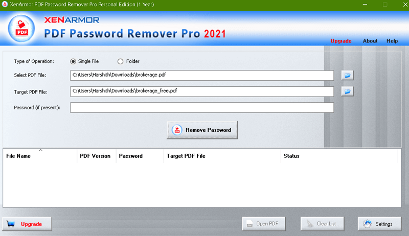 PDF Password Remover Pro by XenArmor - Interface