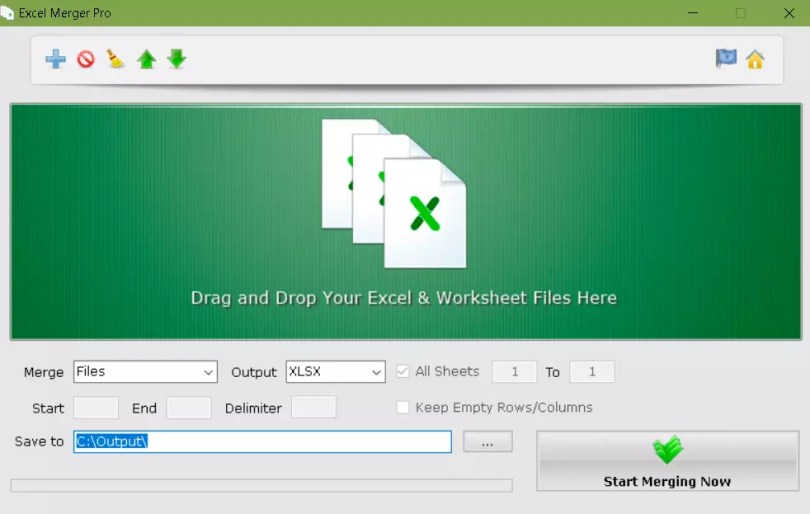 Excel Merger Pro Main Interface