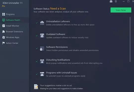 IObit Uninstaller 11 Software Health feature