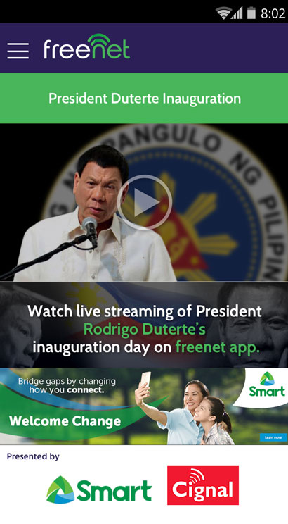 Duterte live stream
