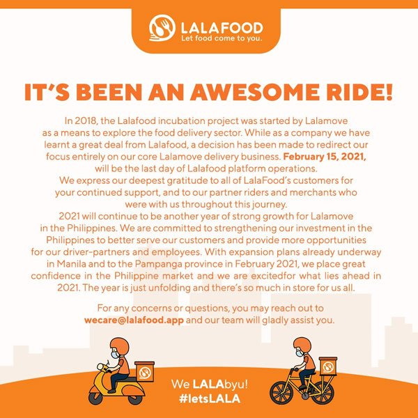 Lalafood PH to stop operations starting Feb. 15