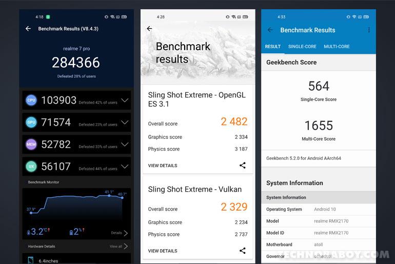 realme 7 Pro review, benchmark scores