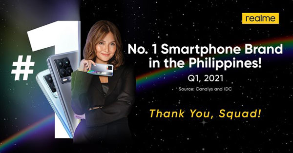 realme number one smartphone brand Philippines Q1 2021