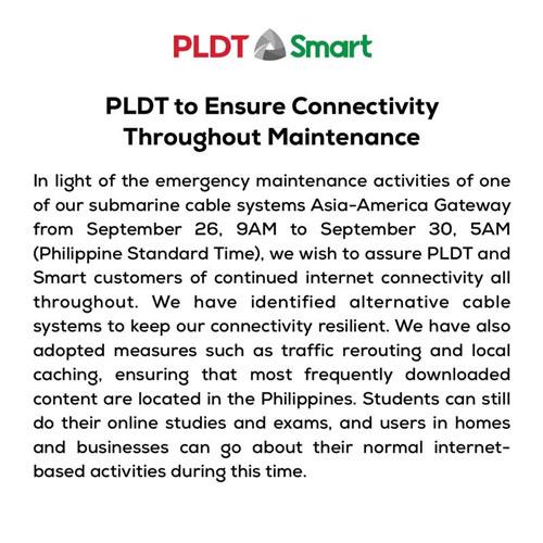 Smart PLDT AAG Submarine cable advisory