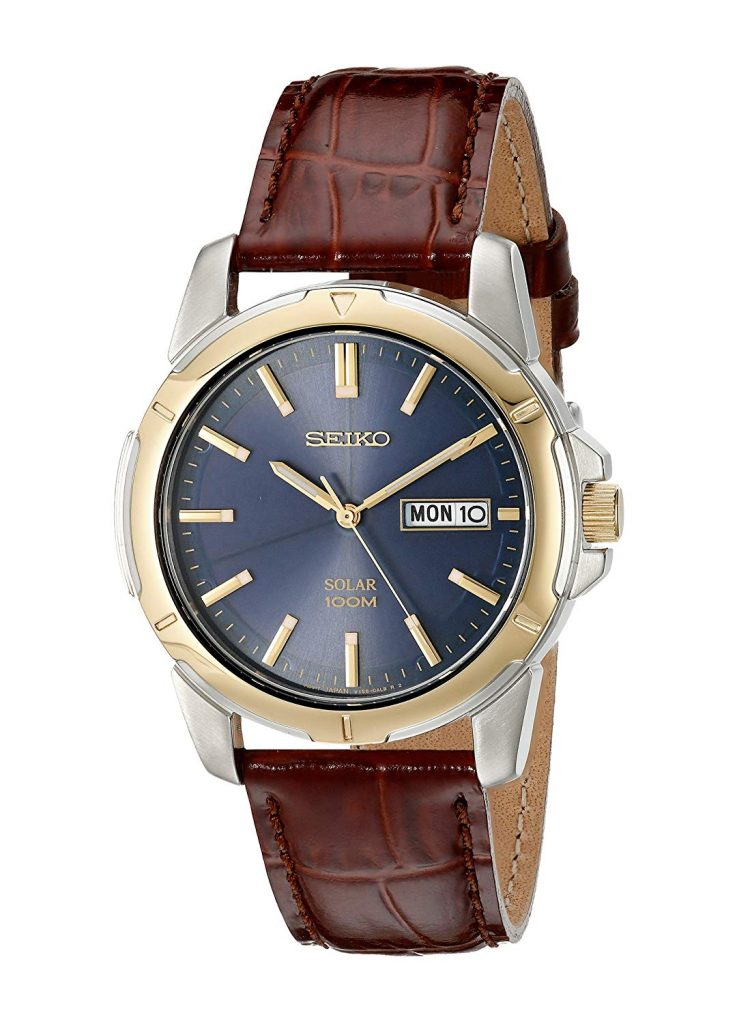 Seiko Men's SNE102 Stainless Steel Watch with Brown Leather Strap