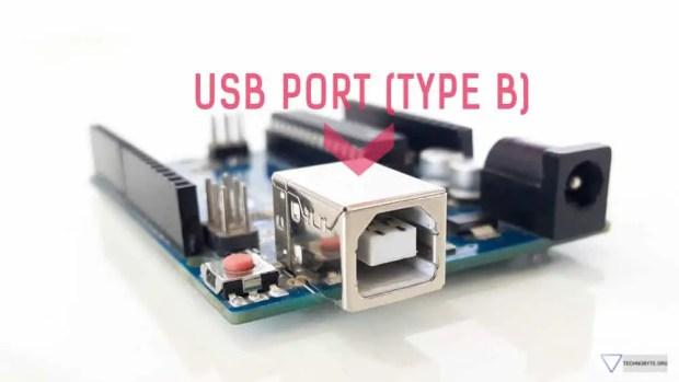 Arduino Uno USB port Type B