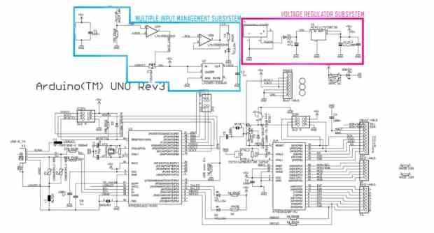 Arduino Uno power supply subsystem
