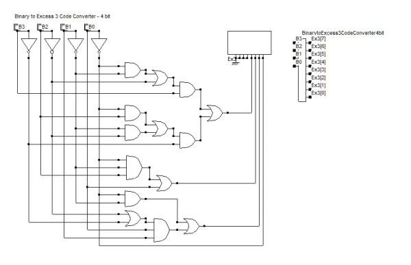 Binary to Excess 3 Code Converter - 4 bit