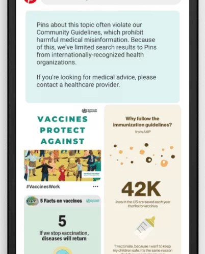 Pinterest Will Limit Search Results for Vaccine-Related Queries