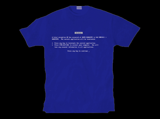Softwear by Microsoft Blue Screen of Death