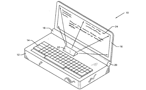Laptop with built-in projector