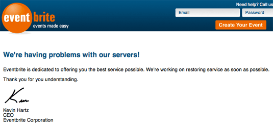 Eventbrite is down
